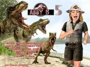Girl being chased by dinosaurs