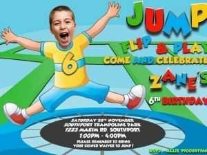 Trampoline Bounce House Birthday Party Invitation for BOY