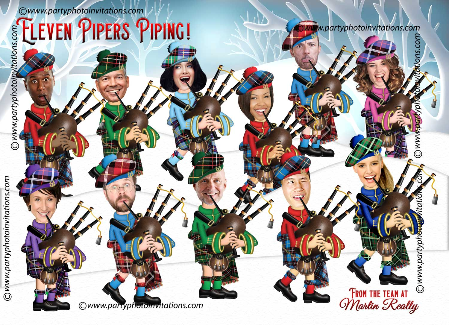 11 Pipers piping Funny Corporate Christmas Card