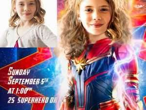 Captain Marvel Birthday Invitation